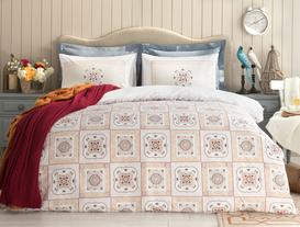 Camile Double-Sided Single-Size Ranforce Duvet Cover Set - Navy/Red