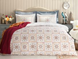 Camile Double-Sided King-Size Ranforce Duvet Cover Set - Navy/Red