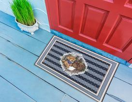 Cute Dog Kapı Önü Paspası - Mavi