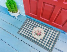 Floral Kapı Önü Paspası - Indigo