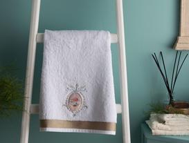 Nakışlı Banyo Havlusu - Beyaz