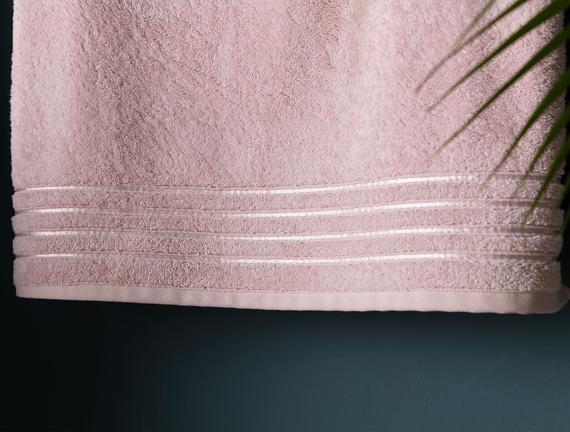 Maynor Bordürü Floşlu Banyo Havlusu - Pudra - 70x140 cm