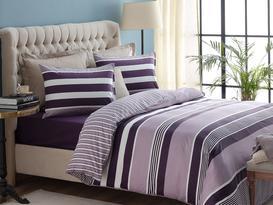 Maniere King-Size Satin Duvet Cover Set - Purple
