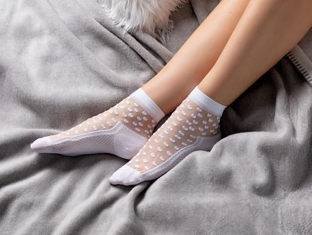 Kadın Şeffaf Soket Çorap - Beyaz