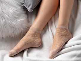 Kadın Şeffaf Soket Çorap - Ekru