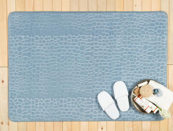 Pebble Emboss Banyo Paspası - Indigo