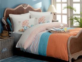 Chambre Double-Sided King-Size Ranforce Duvet Cover Set - Blue/Orange