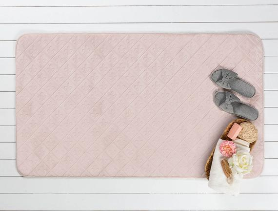 Flannel Baby Touch Banyo Paspası - Pudra
