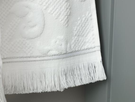 Amarente Bukle Kadife Havlu - Beyaz - 70x140 cm