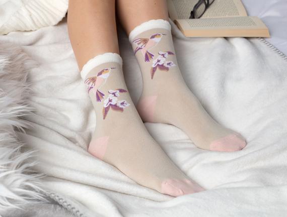 2'li Kuş Temalı Kadın Çorabı - Pudra / Taş