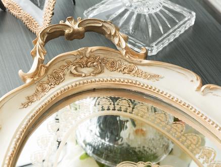 Versaille Gold Kulplu Oval Tepsi - Bej - 55x34 cm