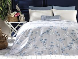 Calme Double-Size Printed Coverlet - Grey / Blue