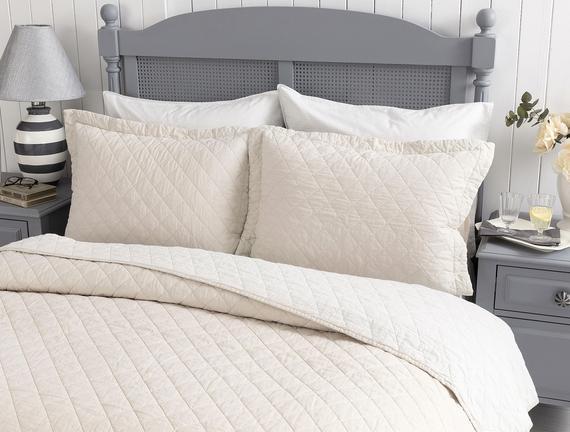 Therron Tek Kişilik Vintage Yıkamalı Yatak Örtüsü - Bej