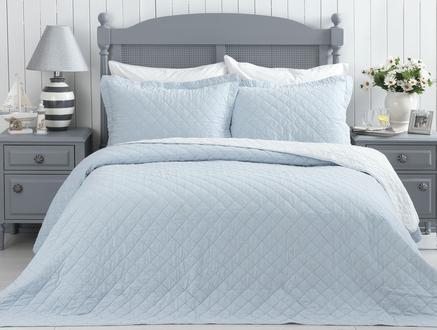 Therron Tek Kişilik Vintage Yıkamalı Yatak Örtüsü - Mavi
