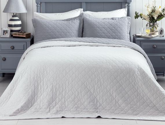 Therron Tek Kişilik Vintage Yıkamalı Yatak Örtüsü - Gri
