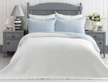 Therron King Size Vintage Yıkamalı Yatak Örtüsü - Mavi