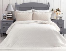 Therron King Size Vintage Yıkamalı Yatak Örtüsü - Bej