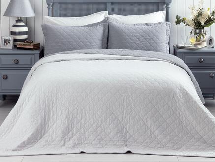 Therron King Size Vintage Yıkamalı Yatak Örtüsü - Gri