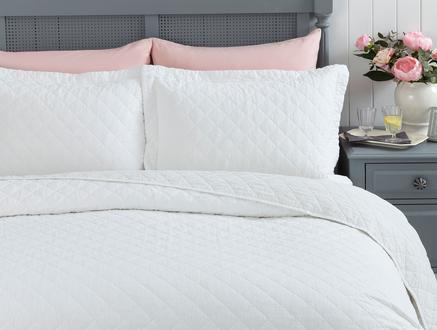 Therron Çift Kişilik Vintage Yıkamalı Yatak Örtüsü - Beyaz