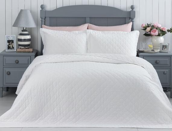 Therron Çift Kişilik Vintage Yıkamalı Yatak Örtüsü Takımı - Beyaz