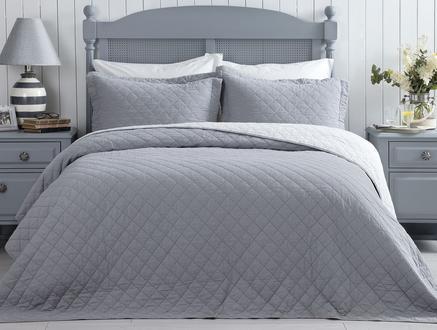 Therron Çift Kişilik Vintage Yıkamalı Yatak Örtüsü - Gri