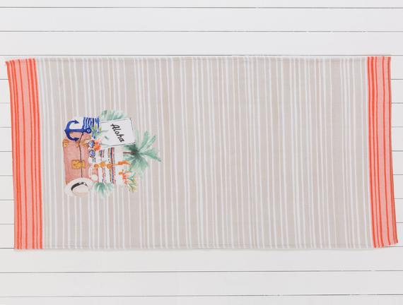 Mabelle Baskılı Kadife Plaj Havlusu - Bej / Kırmızı - 75x150 cm
