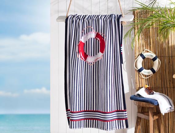 Nicola Baskılı Kadife Plaj Havlusu - Lacivert / Kırmızı - 75x150 cm