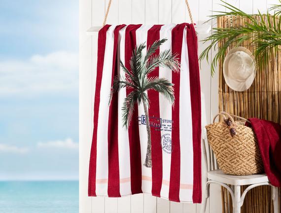 Belda Baskılı Kadife Plaj Havlusu - Beyaz / Kırmızı