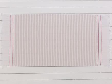Robinetta Armürlü Plaj Havlusu - Bej / Kırmızı - 75x150 cm