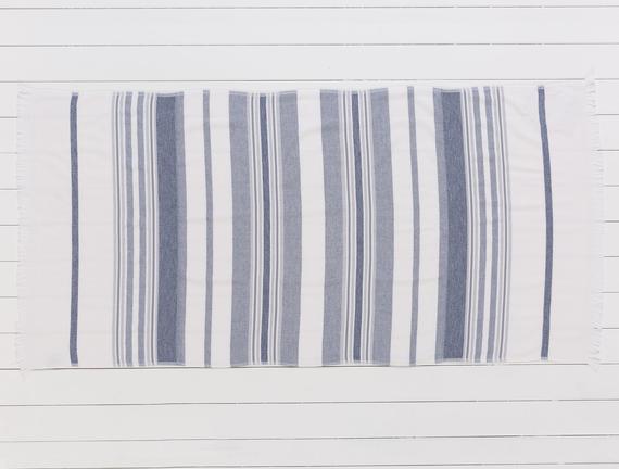 Fabroni Armürlü Plaj Havlusu - Lacivert / Gri - 75x150 cm