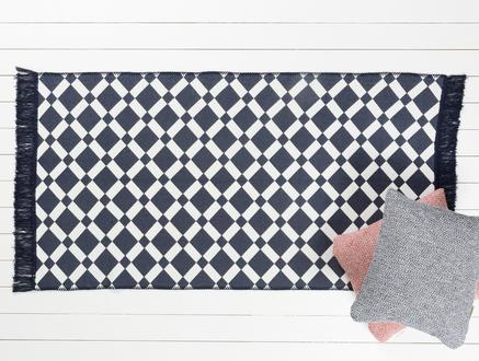 Bianca Saçaklı Dokuma Kilim - Lacivert / Beyaz - 80x150cm