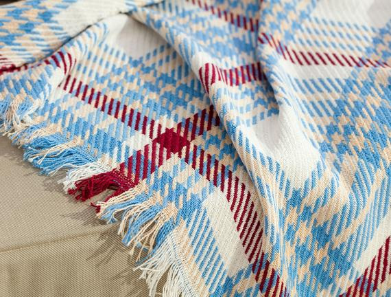 Charline Koltuk Şalı - Mavi / Bordo - 170x250 cm