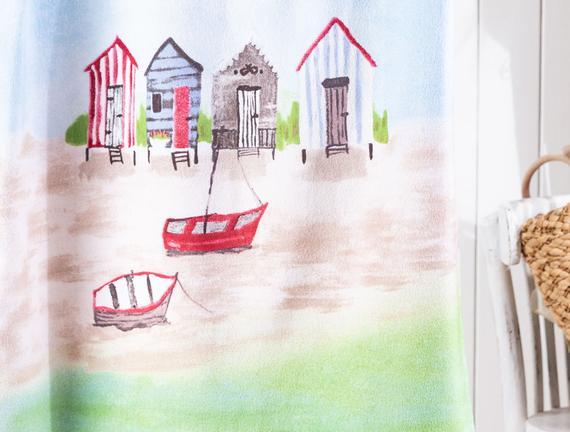 Odette Baskılı Kadife Plaj Havlusu - Mavi / Kırmızı