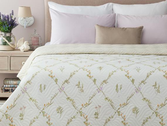 Calette Baskılı Çift Kişilik Yatak Örtüsü - Beyaz/Yeşil