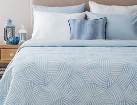 Damien Çok Amaçlı Çift Kişilik Yatak Örtüsü - Mavi