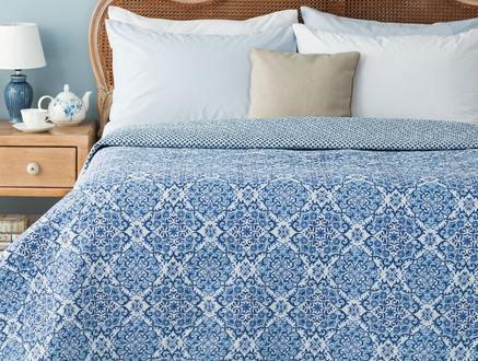 Ancile Baskılı Çift Kişilik Yatak Örtüsü - Mavi