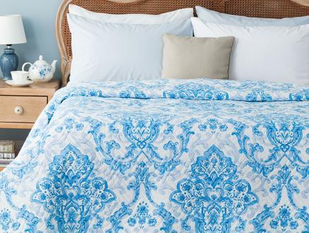 Richelle Baskılı Çift Kişilik Yatak Örtüsü - Mavi
