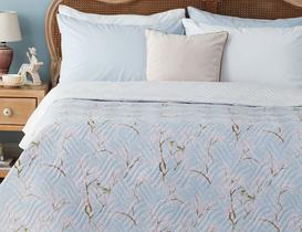 Oiseaux Çok Amaçlı Tek Kişilik Yatak Örtüsü - Mavi