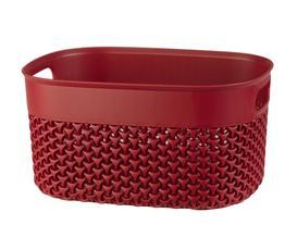 Curvy Örgü Desenli Küçük Sepet - Carmen Kırmızı