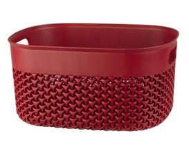 Curvy Örgü Desenli Büyük Sepet - Carmen Kırmızı