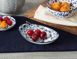 Rêve Bleu Fleur New Bone China Oval Tabak