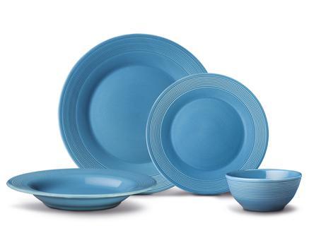 Clarita 16 Parça Yemek Takımı - Teal Blue