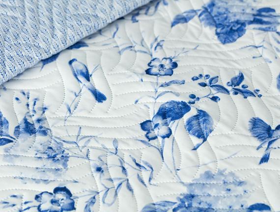 Ophelia Çok Amaçlı King Size Yatak Örtüsü - Mavi