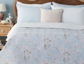 Oiseaux Çok Amaçlı King Size Yatak Örtüsü - Mavi