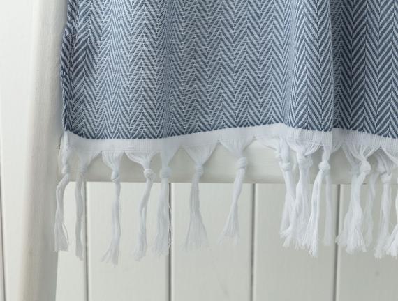 Charlise Armürlü Peştamal - Beyaz / Lacivert - 80x160 cm