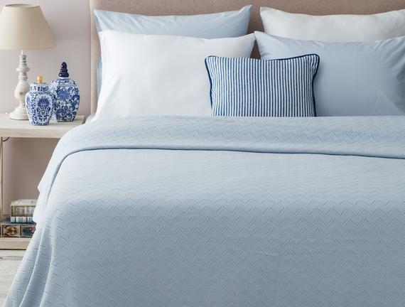 Lundi Çift Kişilik Yatak Örtüsü - Mavi