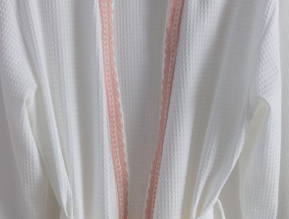 Jacqueline Kimono Dantelli Kadın Pike Bornoz - Beyaz / Pudra