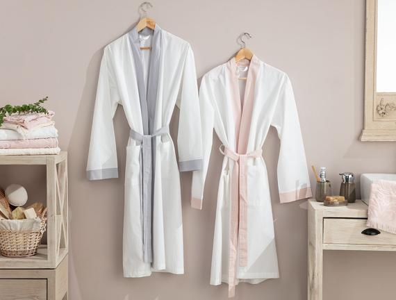 Platt Kimono Percale Bornoz - Beyaz / Pudra