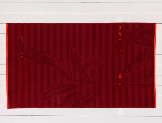 Delancy Jakarlı Plaj Havlusu - Kırmızı - 80x140 cm
