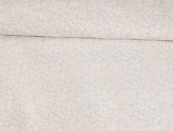 Vence Ranforce Baskılı Tek Kişilik Çift Taraflı Nevresim Takımı - Pudra / Mint